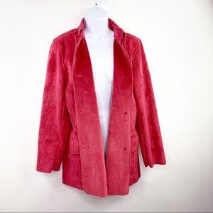 Harve Benard Sz 8 Long Vegan Suede Jacket Pink M